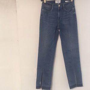 Frame denim le high front slit jeans